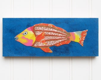 Fish Print/Collage on Wood Panel - Pink Filigree Fish