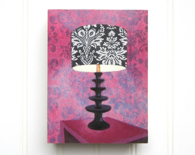 5 x 7 Lamp Print on Panel - Velvet Wallpaper
