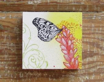Tropicalia Butterfly Print on Wood Block (4 x 4)