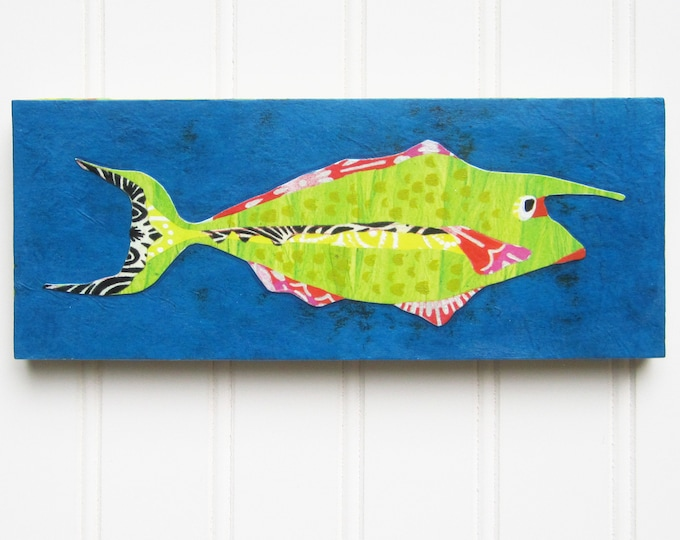 Fish Print/Collage on Wood Panel - Green Unicorn Fish