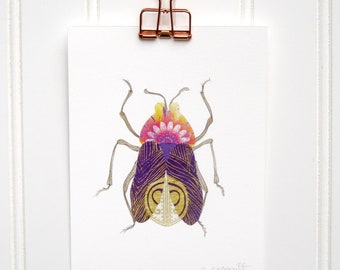 Purple Peacock Beetle  Print