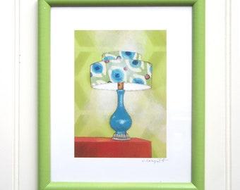 8 x 10 Framed Lamp Print - Mod Turquoise Lamp