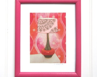 8 x 10 Framed Lamp Print - Pink & Orange Pop Lamp