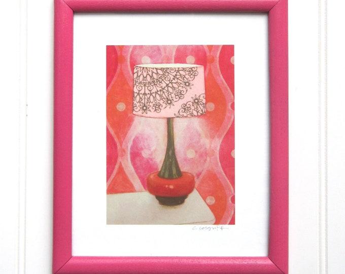 8 x 10 Framed Lamp Print - Pink & Orange Pop Lamp