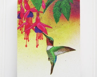 Hummingbird Print on Wood Block (5 x 7)