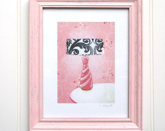 8 x 10 Framed Lamp Print - Pink Boudoir Lamp