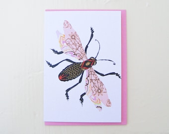 Pink Filigree Bug Card