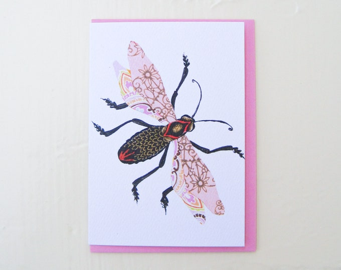 Pink Filigree Bug Card