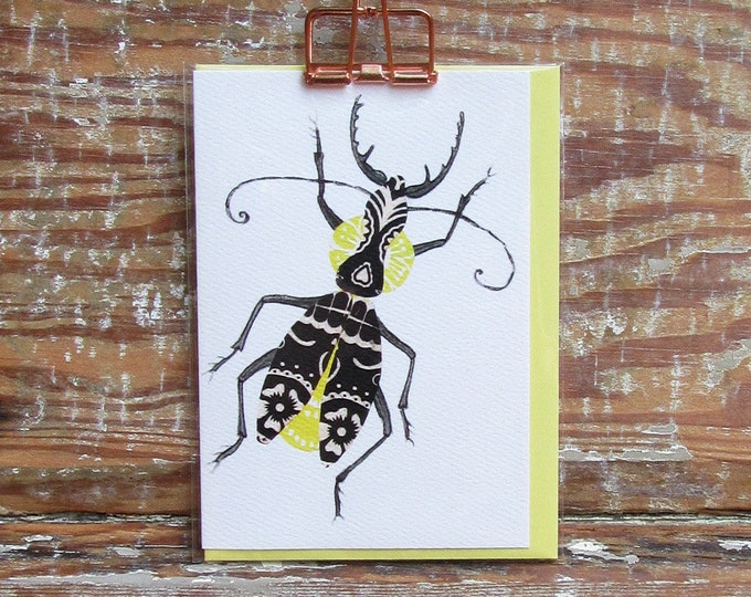 Black and Yellow Bug Card