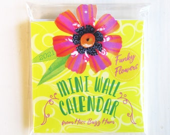 Funky Flower Mini Wall Calendar 2021 Year-at-a-Glance