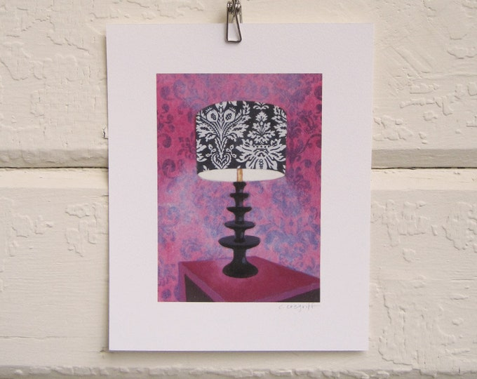8 x 10 Lamp Print - Velvet Wallpaper