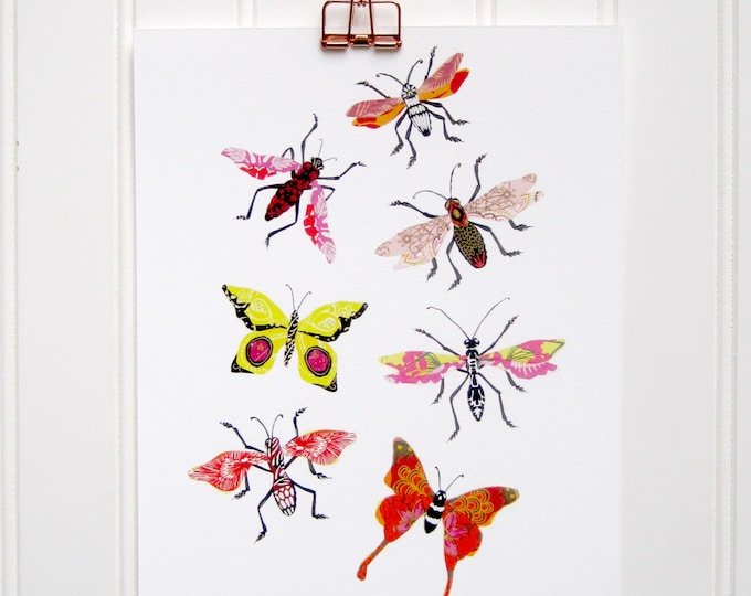 Multi Bug Print - 8 x 10, 11 x 14 - Warm Colors