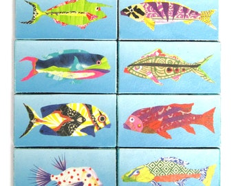 Fish Tiny Print Mini Canvas Panels 4 x 2 Inches