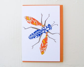 Blue and Orange Moth Card