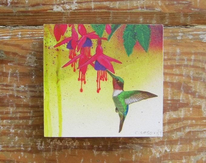 Tropicalia Hummingbird Print on Wood Block (4 x 4)