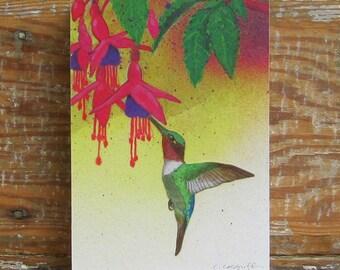 Tropicalia Hummingbird Print on Wood Block (5 x 7)