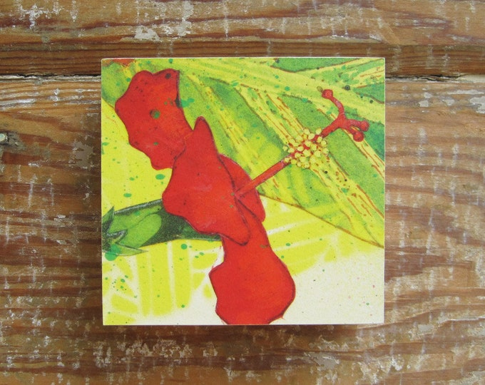 Tropicalia Hibiscus Print on Wood Block (4 x 4)