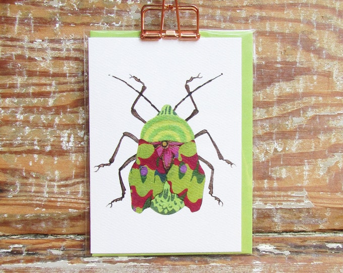 Groovy Green Beetle Card