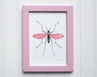 5 x 7 Framed Bug Print - Pink Momma Longlegs