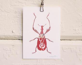 Swirly Red Bug Print