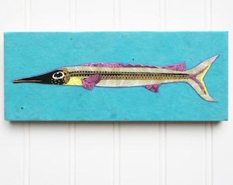 Fish Print/Collage on Wood Panel - Silver Sardine