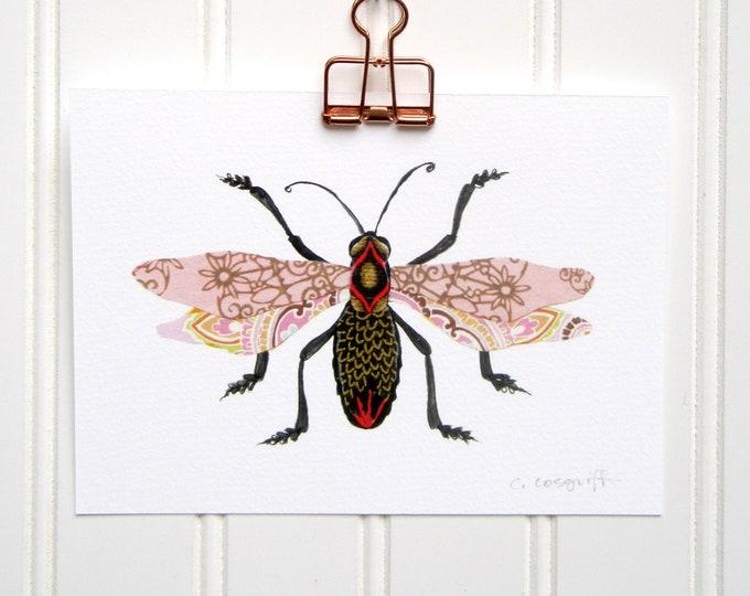 Pink Filigree Flyer Bug  Print