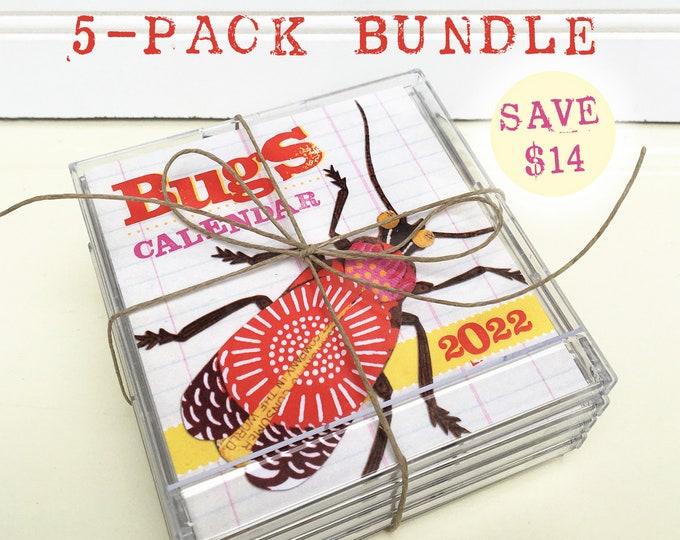 Mini CD Case Compact Bugs Desk Calendar 2022 - 5 Pack Bundle