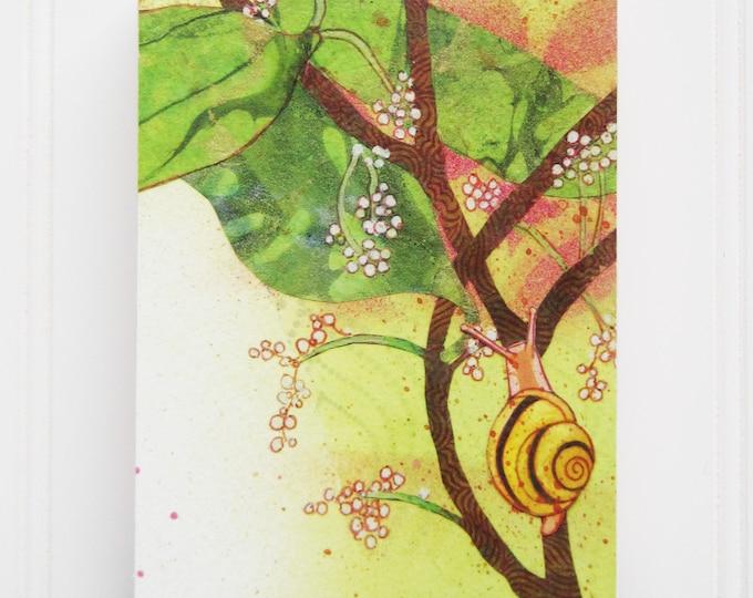 Snail Print on Wood Panel (5 x 7)