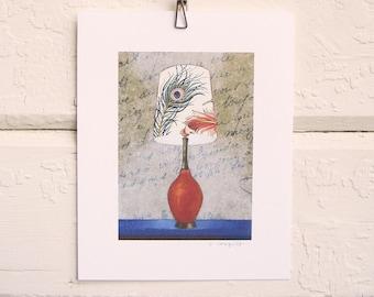 8 x 10 Lamp Print - Peacock