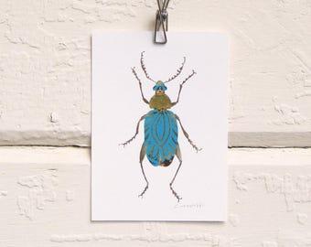 Turquoise Bug Print