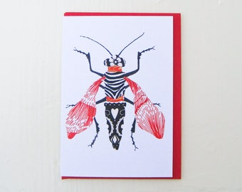 Red Zebra Moth Card