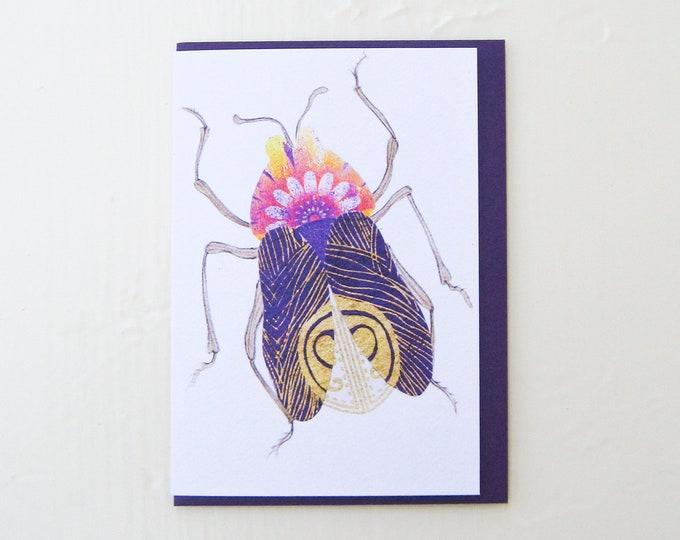 Purple Peacock Beetle Card