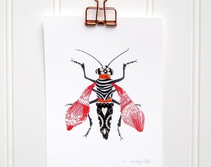 Red Zebra Moth  Print
