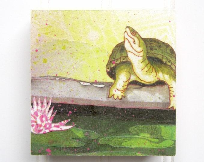 Turtle Print on Wood Panel (4 x 4)