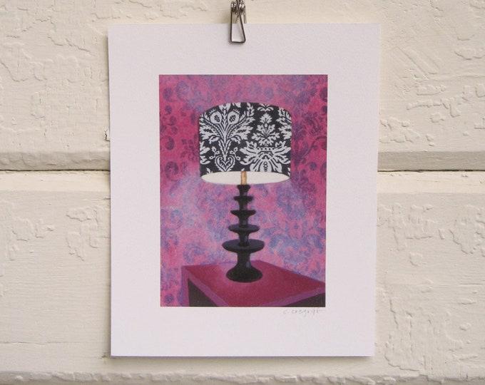 8 x 10 Lamp Print - Velvet Wallpaper