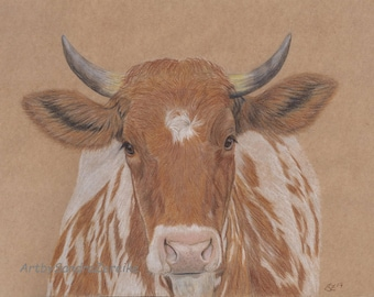 Drawing cow original colored pencil drawing animal pictures farm 7,8 x 11,8