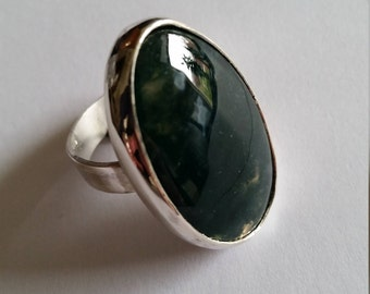 Sterling silver ring with moss agate statement ring
