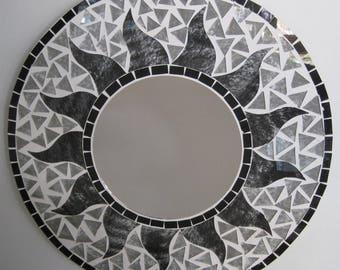 SALE  - Reverse Hand Painted Art Glass Mosaic Mirror