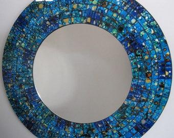 Reverse Hand Painted Art Glass Mosaic Mirror