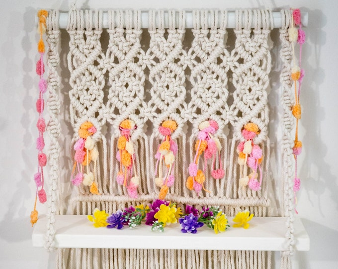 Featured listing image: Macrame wall hanging Rosaleen, Wall decor, Wall hangings, Macrame shelf wall hanging, Home decor, Boho style, Bedroom decor