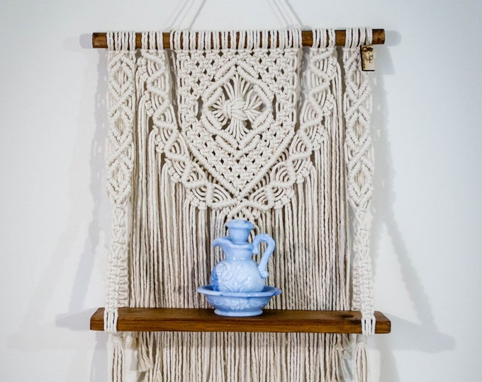 Featured listing image: Macrame wall hanging, Wall decor, Wall hangings, Macrame shelf wall hanging, Home decor, Boho style, Bedroom decor, Living room decor