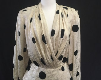 Silk Deep V Vintage Blouse