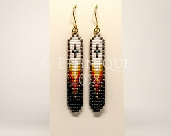 Native American Southwest Vegan Beaded Earrings / Ethical and Unique Handmade Ethnic and Tribal Jewellery