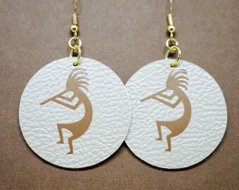 Native American Kokopelli Vegan Earrings / Ethical and Unique Handmade Faux Leather Jewellery