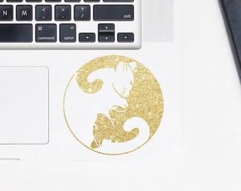 Sailor Moon Cat decal, Yin yang decal, glitter decal, for laptop, car, macbook, wall