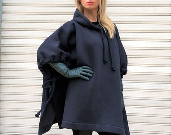 Sculpture Couture Loose  Maxi Coat  Oversized  Maxi Cape Coat  Extravagant Women Coat with Pockets  Warm Half Belted Fashion Jacket