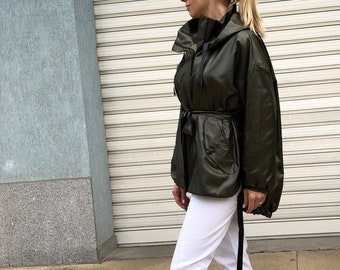 fe88c58b Extravagant Trench Coat with Belt / New Green Hooded Zipper Raincoat /  Spring Blazer / Lined Jacket with Pockets