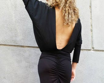 Long Sleeve Maxi Dress / Loose Open Back Black Dress / Dolman Sleeve Extravagant Dress