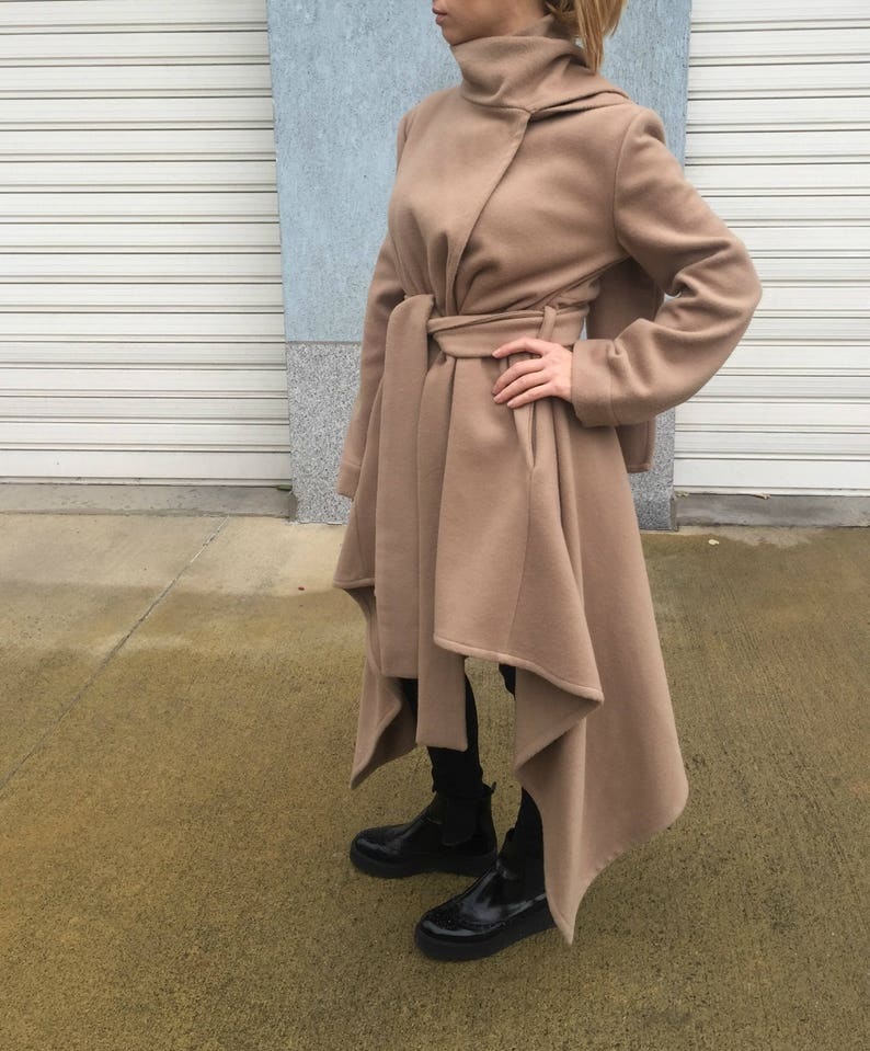 Asymmetrical Women Wool Coat with Scarf  Winter Cape Coat  Long Sleeves Trench Coat  Women Jacket  Oversize Coat