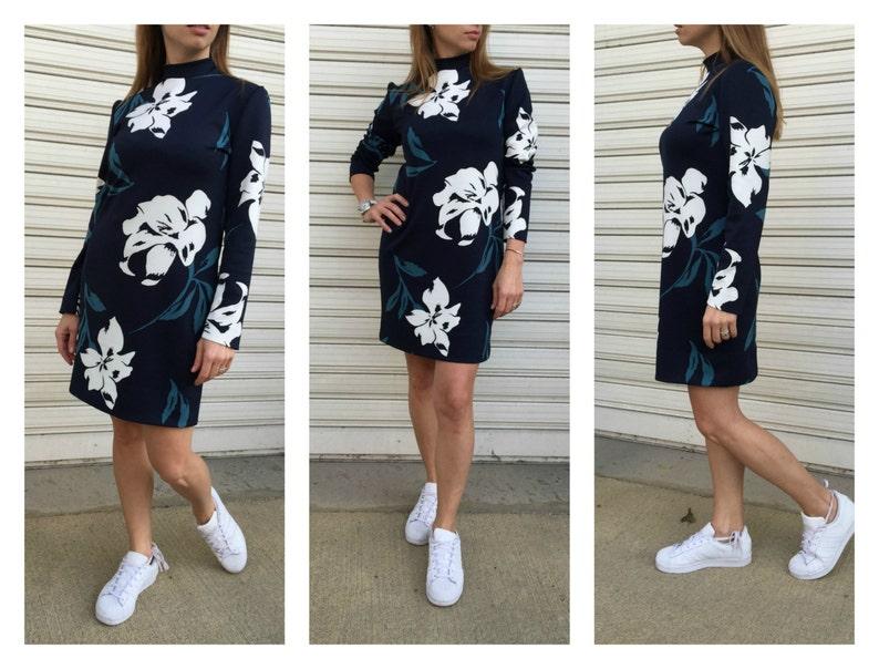 7084421373 Długie rękawy kobiety Dress Print elegancka sukienka